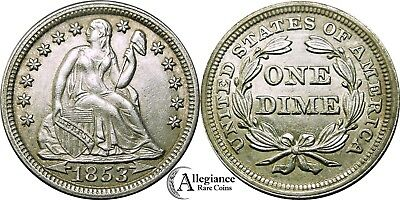 1853 10c Seated Liberty Dime AU+ to MS BU UNC rare old type coin with arrows