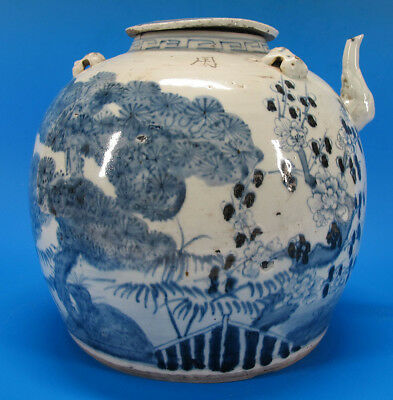 Qing Blue and White Porcelain Folk Kiln HUGE Water Tea Pot Ewer China Trade yqz