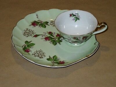 Lefton China Tea Cup and Snack Plate set Hand Painted