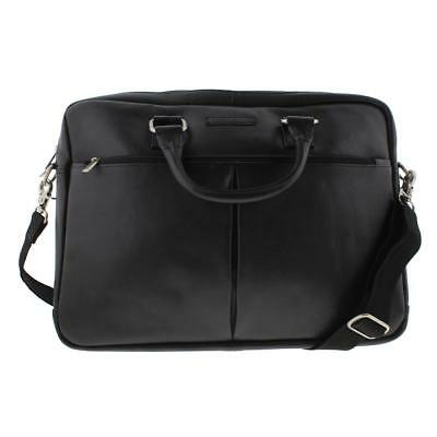 Perry Ellis 6218 Black Leather Organizational Business Briefcase O/S BHFO