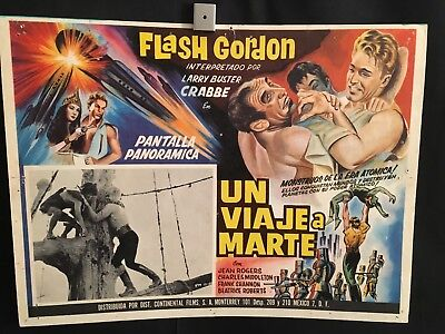 Flash Gordon's Trip To Mars 1960R Mexican Lobby Card Movie Poster Buster Crabbe
