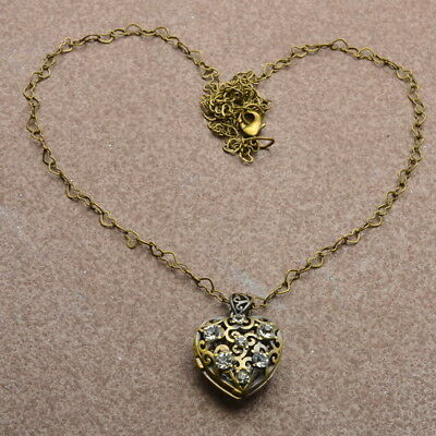 Antique Style Solid Copper Hollow Out Love Heart Locket Necklace Chains 24 1/8""