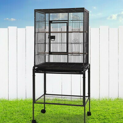 Pet Bird Budgie Parrot Cage Aviary Stand-alone Castor Wheels Feeders Large 160cm