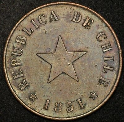 1851 Chile Centavo Copper Flat Star Heaton & Sons Medal Rotation Km-119.2