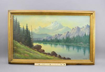 "Antique Oil On Board By Listed Artist L. Griffith "" Monarch Lake Colo "" No Res."