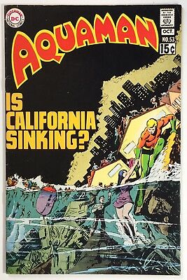 "Aquaman #53 (1970), Black Manta, ""Is California Sinking?"" Solid 7.5 VF-, Cardy"