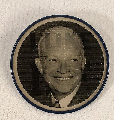 VINTAGE 1952 Dwight Eisenhower I LIKE IKE Campaign Flasher Button 2.5""
