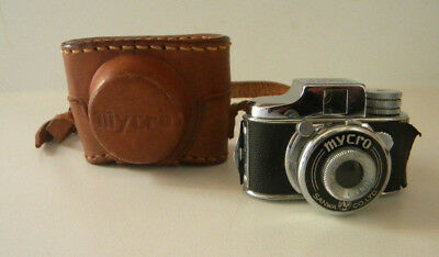 Vtg Mycro Mini Miniature Spy Camera w/ Case Japan Sanwa