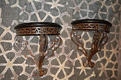 Maitland Smith Pair of Regency Style Metal & Leather Demilune Wall Shelves