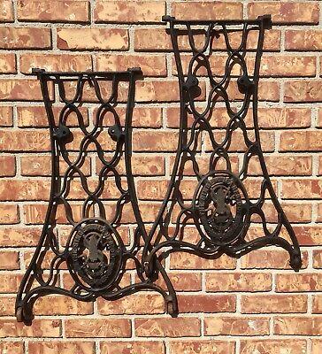 Vintage Singer Cast Iron Treadle Sewing Machine Steampunk Table Base Side Legs