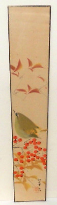Japanese Green Bird On Flower Tree Watercolor Painting Signed