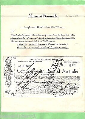 #T78 COPY OF CHEQUE TO ROSS SMITH , WINNER 1929 AIR RACE ENGLAND TO AUST.,extras