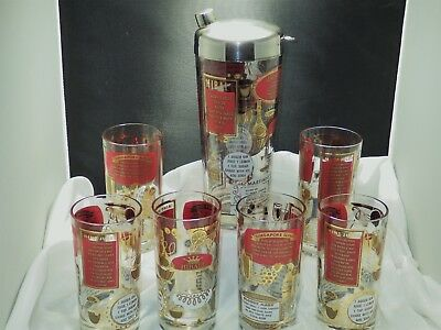 Vintage Cocktail Shaker With 6 Bloody Mary~Singapore Sling~Hiball Liquor Glasses
