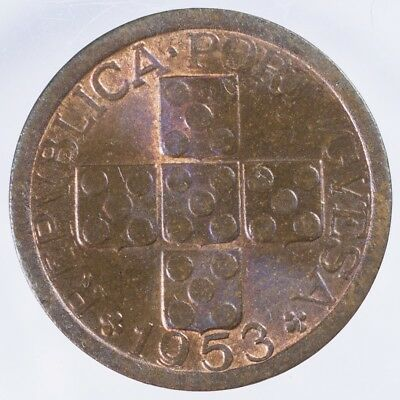 1953 Portugal 10 Centavos CHBU Red and Brown, Bronze