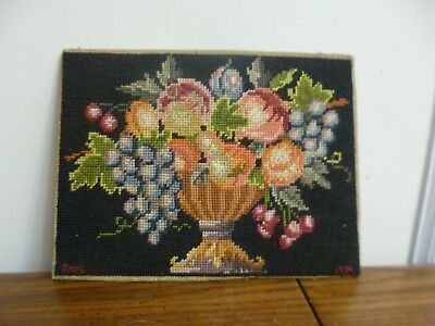 """ANTIQUE/VINTAGE EMBROIDERED NEEDLEPOINT PANEL PICTURE Vase of Flowers 12"""" X 9"""""""