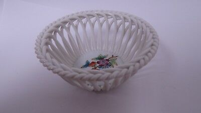 Herend Porcelain Open Lattice Weave Floral Design Small Basket / Bowl