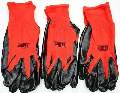 Grease Monkey Nitrile Coated Work Gloves Latex-Free Size Large, 3, 6 or 12 Pairs
