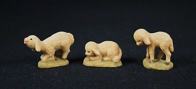 Lot of 3 Sheep / Lambs Anri Italy Ferrandiz master wood carver Nativity set 3""