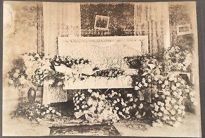 1900's Vtg Post Mortem Cabinet Photo Lovely Young Woman Casket Lots Of Flowers