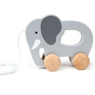 NEW Hape Push and Pull Elephant - Baby Kids Wooden Grey Pull Along Toys