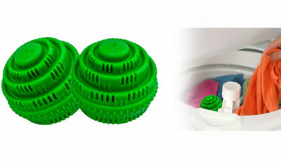 2 Green Clean Eco Laundry Washer Balls Non-Toxic Detergegent Free Laundry Balls