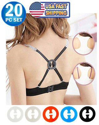 20pc Set Bra Strap Clips For Back Conceal Bra Strap Holder Adds A Full Cup Size