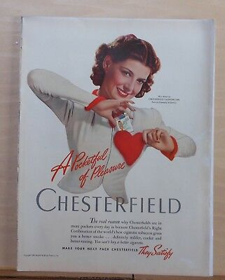 1940 magazine ad for Chesterfield, Miss America Valentine Girl Patricia Donnelly