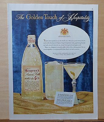 1954 magazine ad for Seagram's Gin - Martini, Seabreeze cocktails, Golden Touch