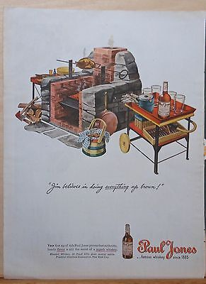 1945 magazine ad for Paul Jones Whiskey - stone bbq and cocktail cart, colorful