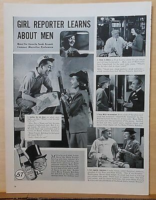 1940 magazine ad for Heinz Ketchup - Girl Reporter Learns About Men, NYC photos