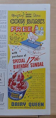 1957 magazine ad for Dairy Queen - mini store coin bank, 17th Birthday Sundae