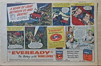 1950 newspaper ad for Eveready Batteries - couple in accident Blue Canyon NE