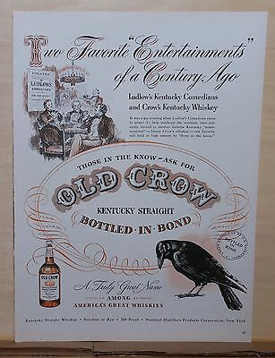 1948 magazine ad for Old Crow Whiskey - Enjoyed by Kentucky's Ludlow Comedians