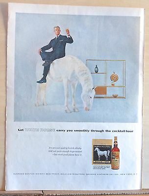 1955 magazine ad for White Horse Scotch - Carries you Smoothly thro Cocktail Hr
