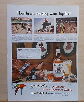 1947 magazine ad for Corby's Whiskey - Bronc-busting goes top hat, rodeo theme