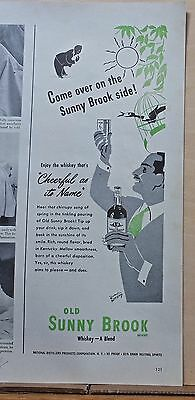 1946 magazine ad for Old Sunny Brook Whiskey - Cheerful as its Name, Come over