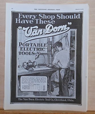 1930 magazine ad for Van Dorn Portable Electric Tools - Every shop should have