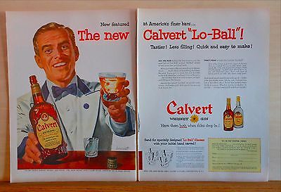 1954 two page magazine ad - Calvert Whiskey - art by Dormont of waiter & Lo-Ball