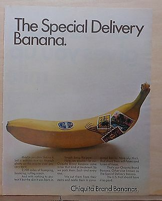 1968 magazine ad for Chiquita Bananas - Stamped Special Delivery Banana