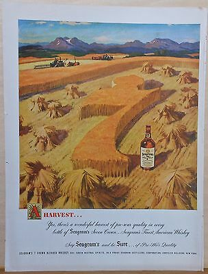Vintage 1947 magazine ad for Seagram's 7 Whiskey - Giant 7 in wheat field
