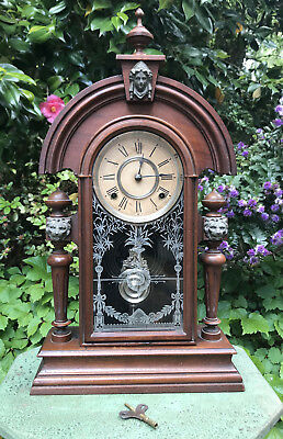 Antique Ansonia King Mantle Cottage Clock Fully Working Original Condition