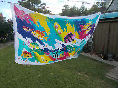 1990's VINTAGE PROMO/PROMOTIONAL ART COTTON SARONG SCARF WRAP FISH MARINE NEW