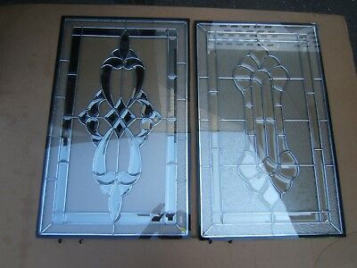Leaded Bevel Face Insulated Glass Window Lot Of Two Nice Mint!