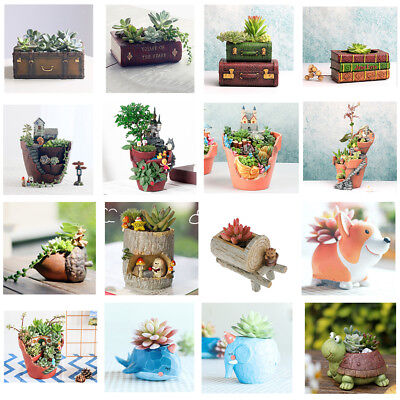 Resin Flower Pot Succulent Planter Garden Decor Herb Box Container Case Bonsai
