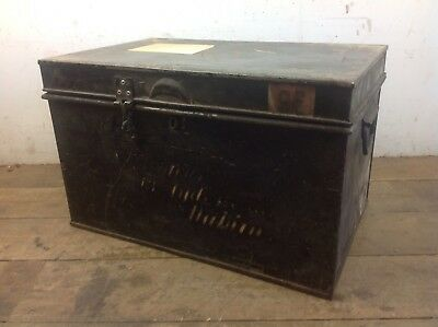 Vintage Steel Deeds Box Chest Drop Handles Lawyers Old