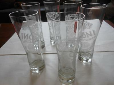 6 x Peroni Beer Etched Logo Red Tag Glasses Italy Design~never used~OAKLEIGH
