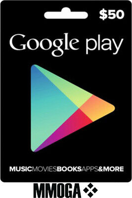$50 USD Google Play shop Card - 50 US Dollar Android Store Prepaid Code Key USA
