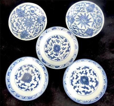 Five Qing Dynasty Antique Chinese Porcelain Lotus Plates Tongzhi