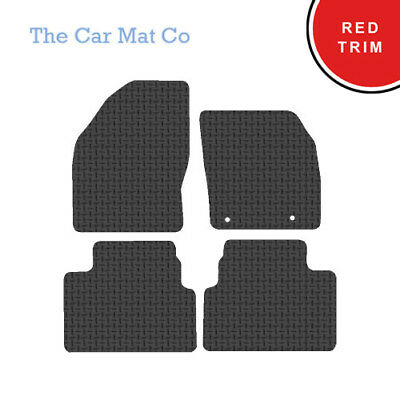 Ford Kuga 2008-2012 Fully Tailored Black Rubber Car Mats With Red Binding