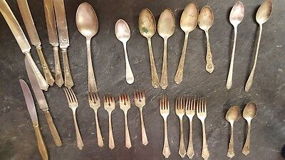 MIXED LOT 30 pieces ANTIQUE VINTAGE SILVERWARE (all plated)